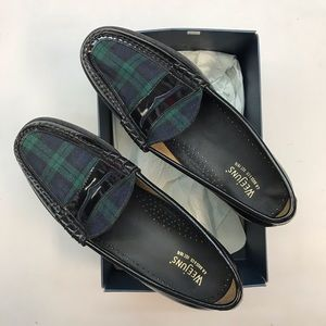 G.H.BASS&co.mens penny loafer,Black/Green/purp.NWT